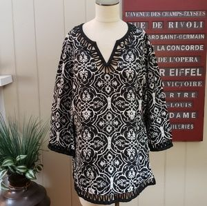 Style & Co. | 14 linen black white tunic top